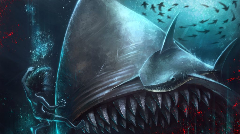 swimming with sharks by streetz86 d6tbo0b 1024x574 - Megalodon Dev Köpekbalığı Canlanıyor mu? (Teoriler ve Belgeler)